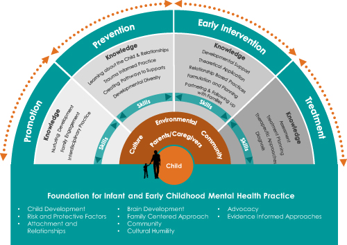 Infant and Early Mental Health Competencies Checklist image shows a fan graphic which has foundational knowledge and skills for practice in early mental health. As a learning model the fan sections expand on the promotion, prevention, early intervention and treatment approaches, and the competencies involved in each of those areas.